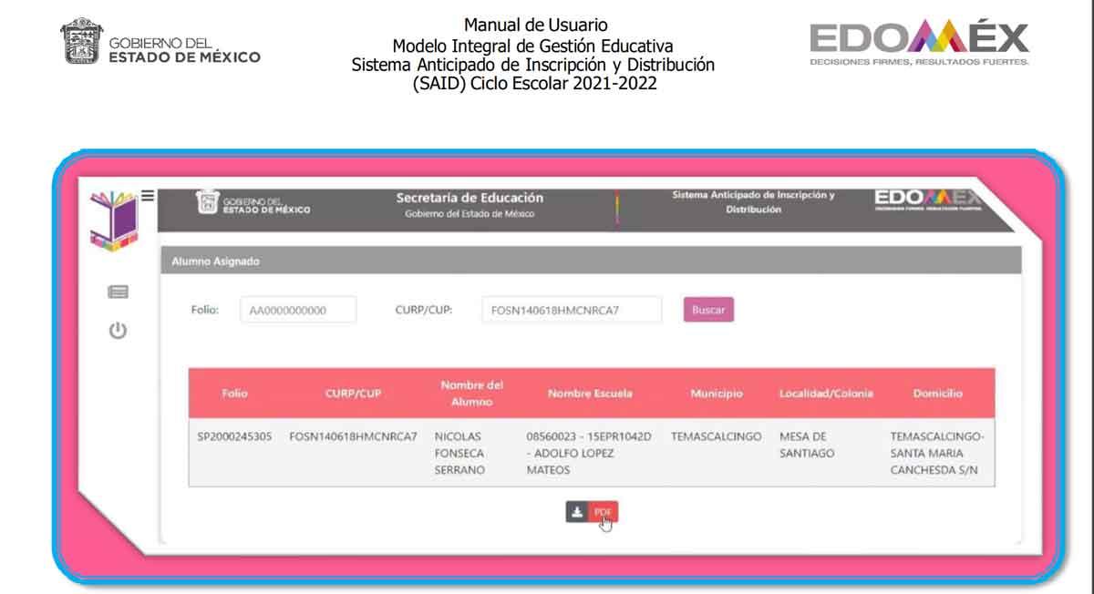 resultados said edomex 2021 con curp o folio de preinscripcion