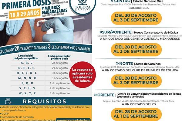 Vacunas Toluca de 18 a 29 años: sedes donde puedes recibir la primera dosis