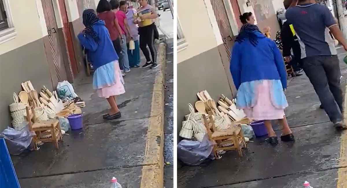 video viral de la semana de abuelita es mojada por señora