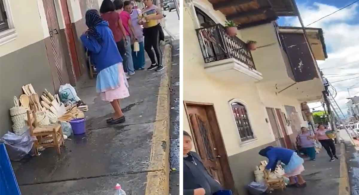 Señora avienta agua a abuelita de puesto callejero, video se hace viral en redes