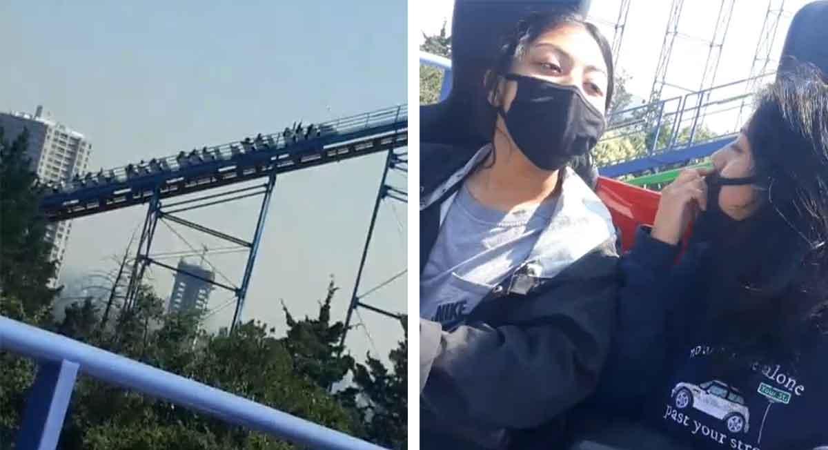 Video viral de la semana, jóvenes se quedan atrapadas en juego de Six Flags México