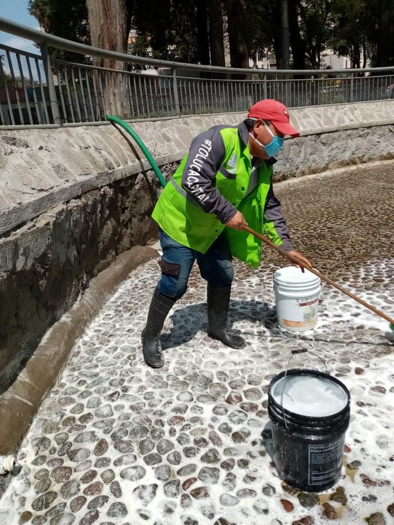 Toluca brinda mantenimiento a estanque de patos en Alameda Central