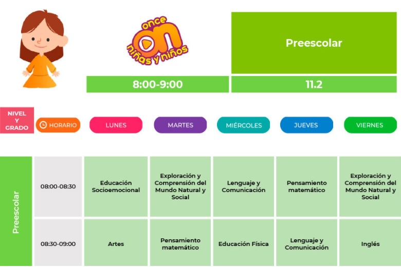 horario del programa aprende en casa preescolar 2021-2022 para el regreso a clases