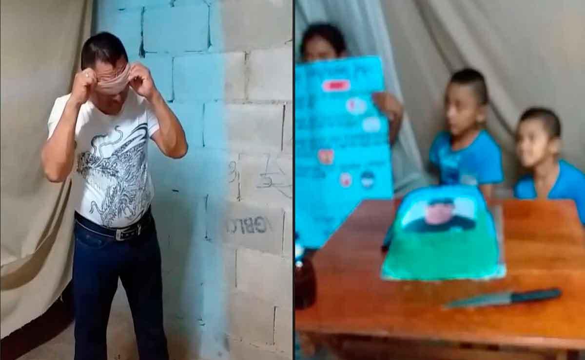Hombre llora al recibir por primera vez un pastel de cumpleaños