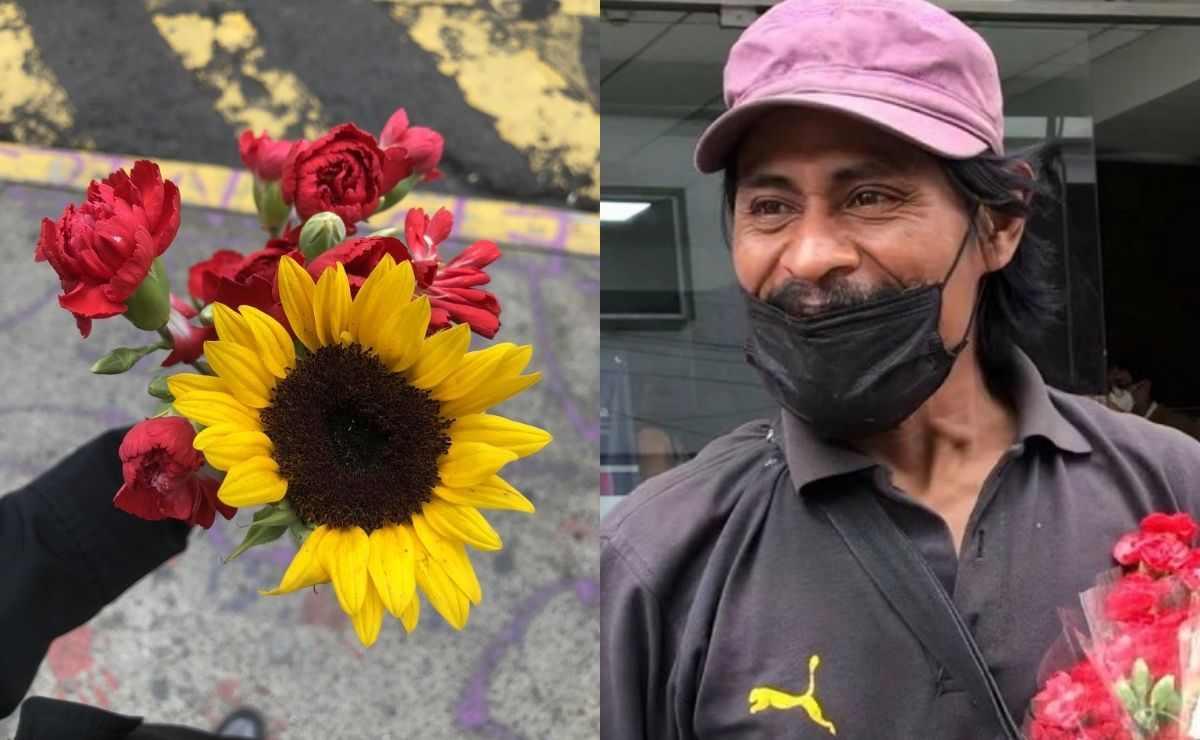 Hombre regala flores en la calle porque encontró a su hija desaparecida