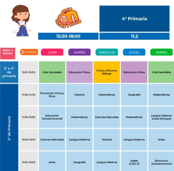 horario de cuarto de primaria del 30 de agosto al 03 de septiembre