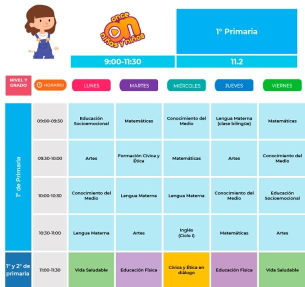 horario de primero de primaria del 30 de agosto al 03 de septiembre