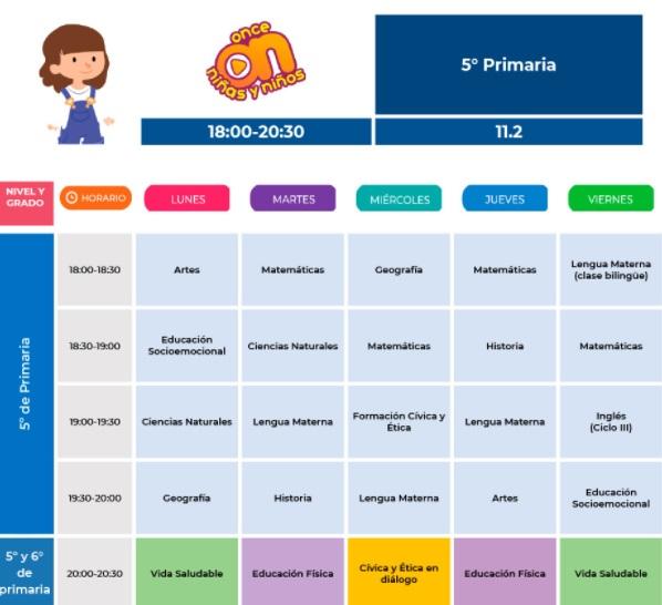 horario quinto de primaria 2021-2022