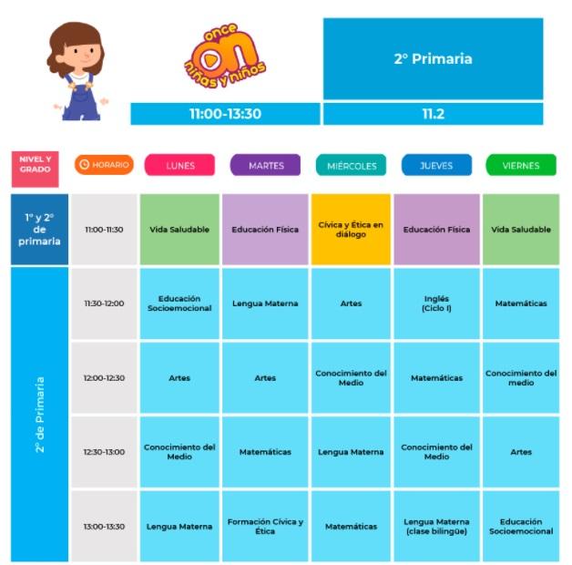 horario de segundo de primaria del 30 de agosto al 03 de septiembre