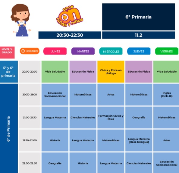 horario sexto de primaria para aprende en casa 2021-2022