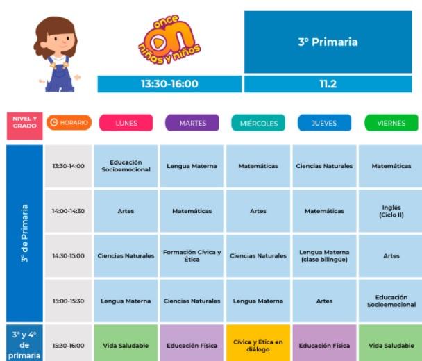horario de tercero de primaria del 30 de agosto al 03 de septiembre