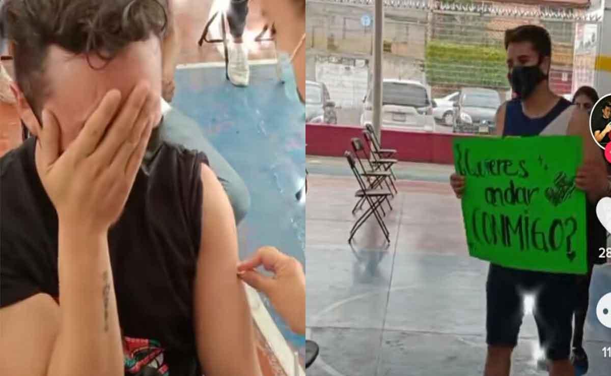 Joven se le declara a su amigo en plena vacunación en Edomex