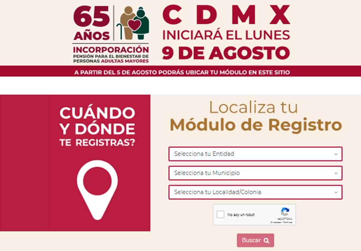 modulos para el registro de la pension del bienestar 2021 cdmx