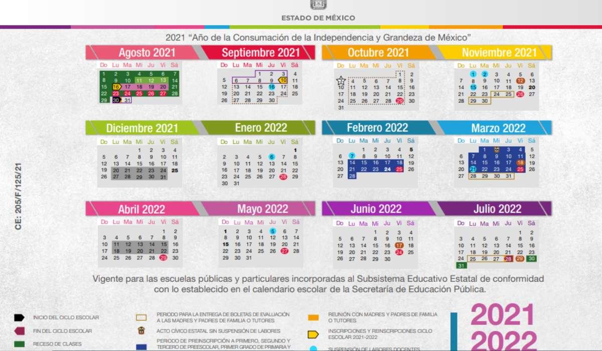 Vacaciones y días festivos del calendario escolar 2021 a 2022 SEP