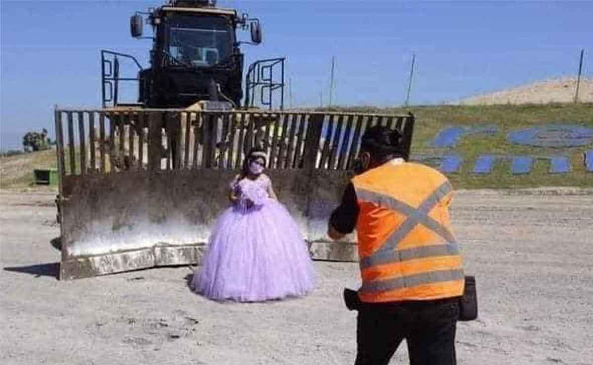 Quinceañera se toma fotos de XV años en un basurero donde trabaja su papá