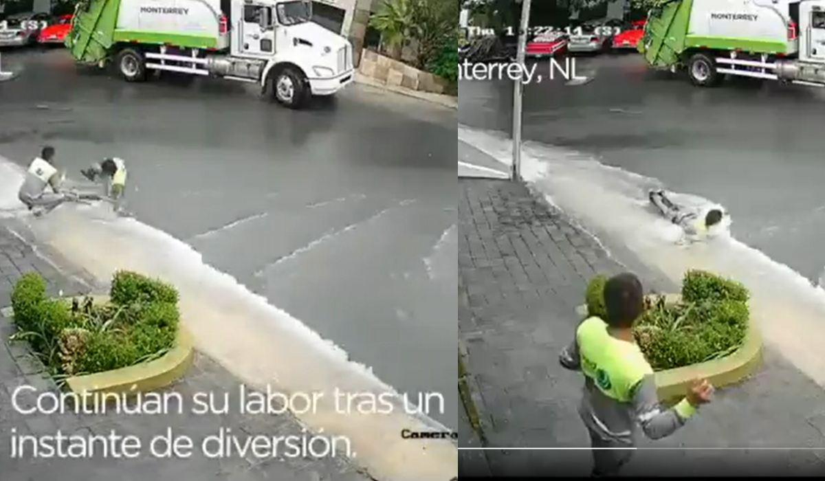 Video viral de la semana- Recolectores de basura son grabados nadando en la intensa lluvia