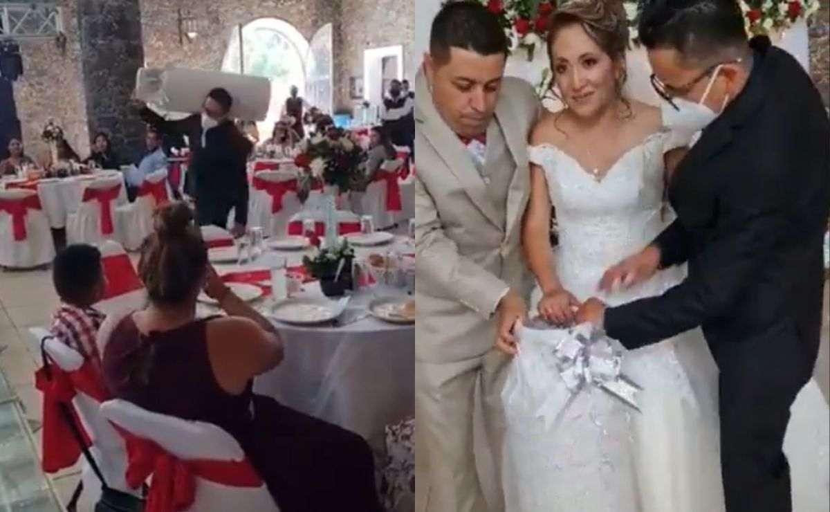 Regalan tanque de gas a novios durante su boda y se hace viral