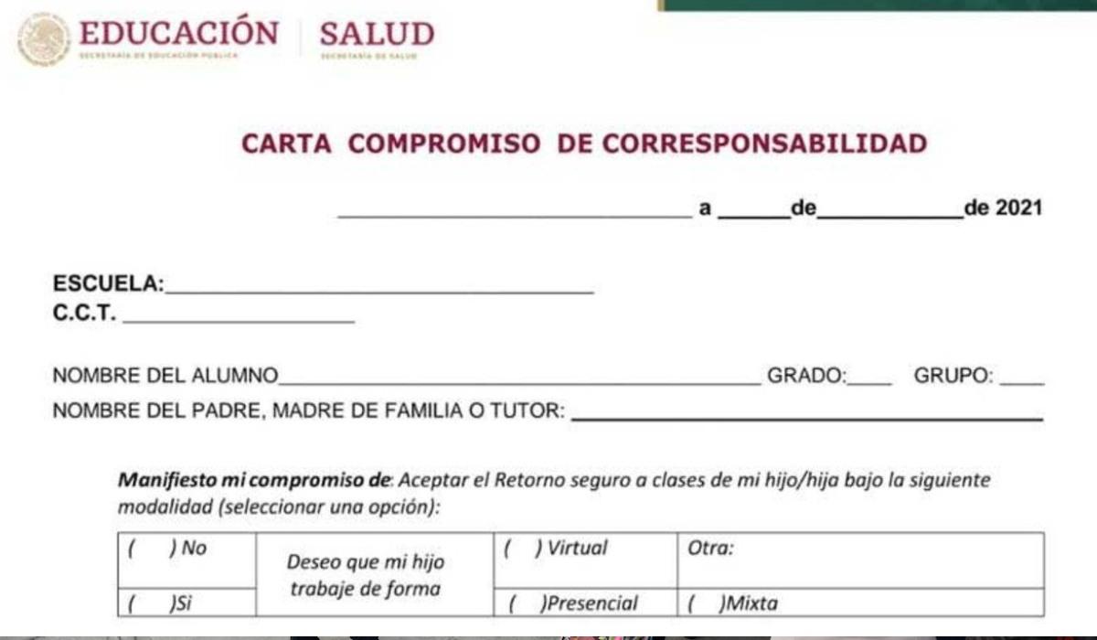 Carta Compromiso de Corresponsabilidad para este regreso a clases 2021 en PDF para descargar