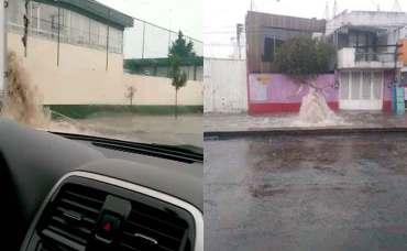 Se inundan calles de Toluca y Metepec.