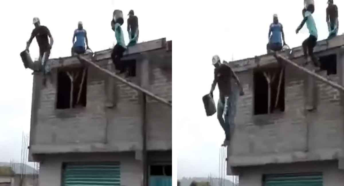 Video viral de la semana, albañil se lanza desde segundo piso y sale ileso
