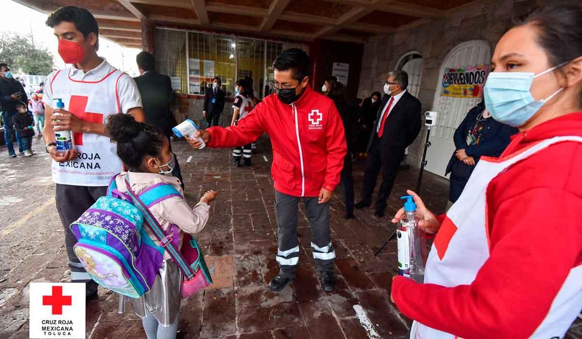 cruz roja toluca apoya durante el regreso a clases precenciales con filtro sanitario y con curso sobre el lavado correcto de manos