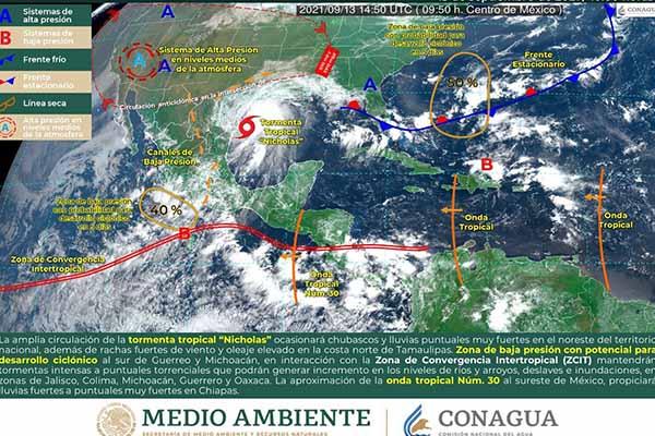 """Tormenta tropical """"Nicholas"""" generará lluvias en los siguientes estados"""