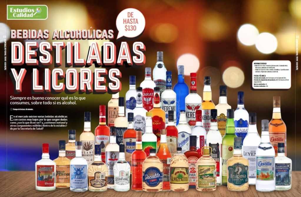 estudio de profeco de las bebidas alcohólicas baratas