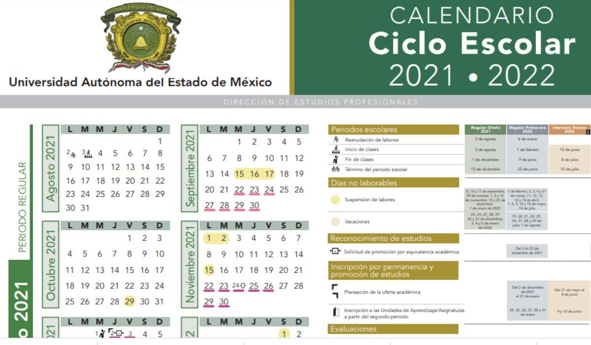 Calendario UAEMex 2021-2022 disponible para imprimir en formato PDF