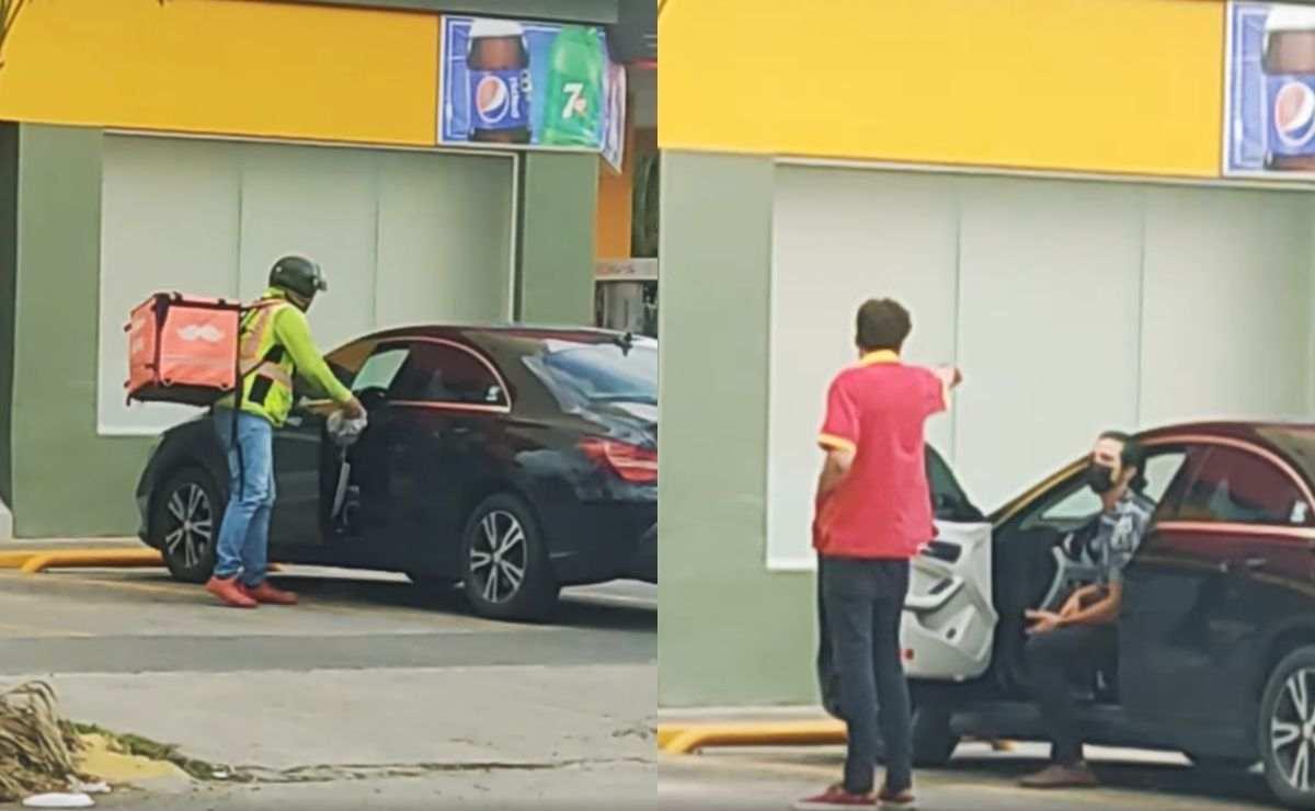 Conductor es grabado tirando su basura en la calle pero repartidor de Rappi lo obliga a levantarla