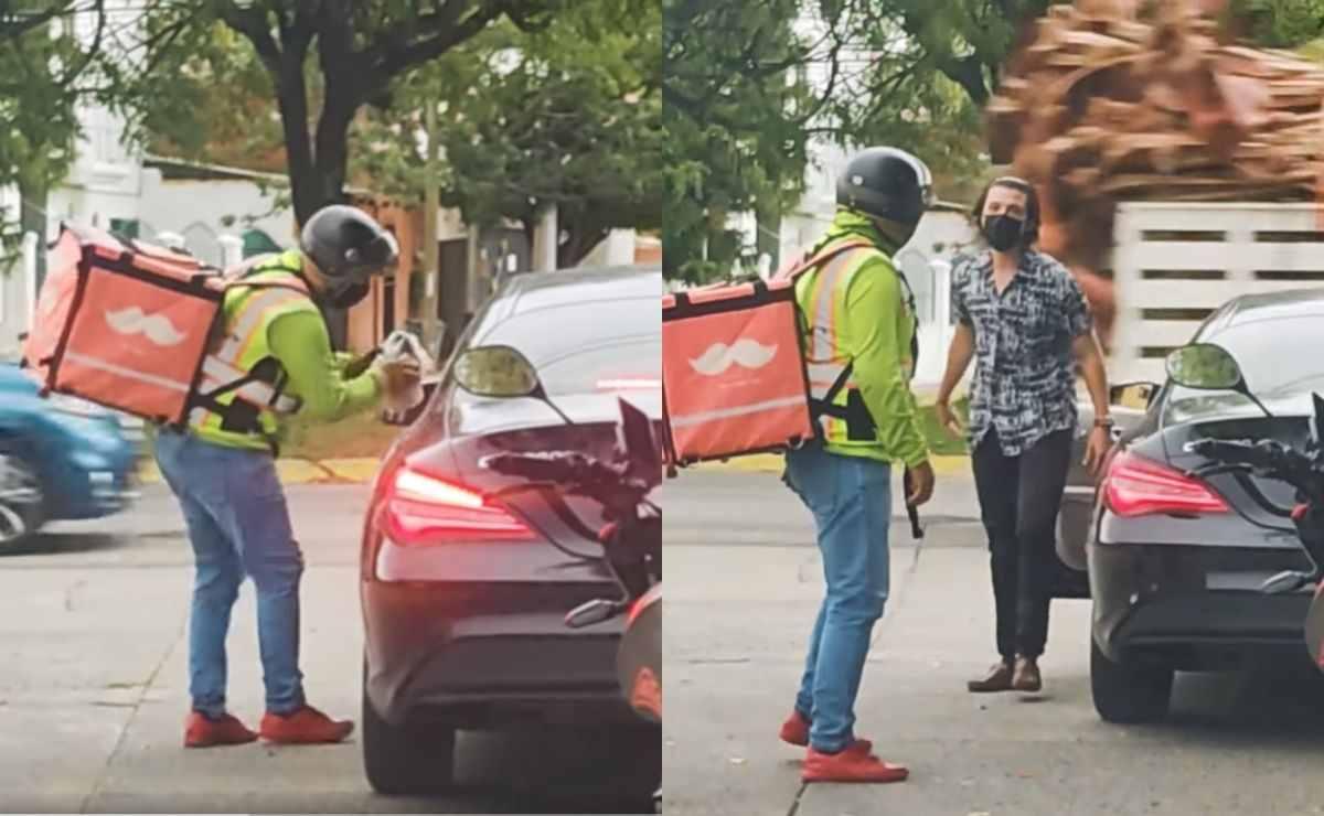 Conductor tira su basura y repartidor de comida le da una lección