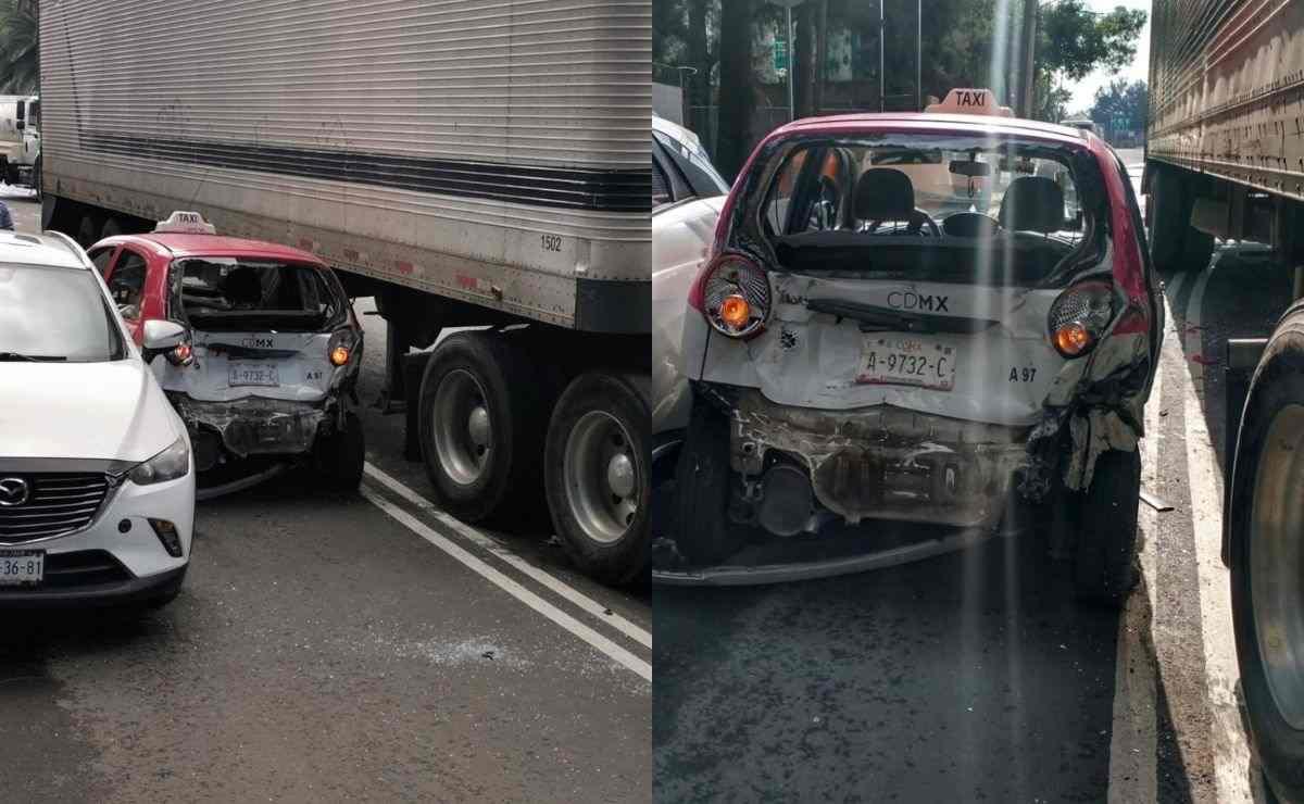 Conductor de tráiler embiste varios autos en Iztacalco