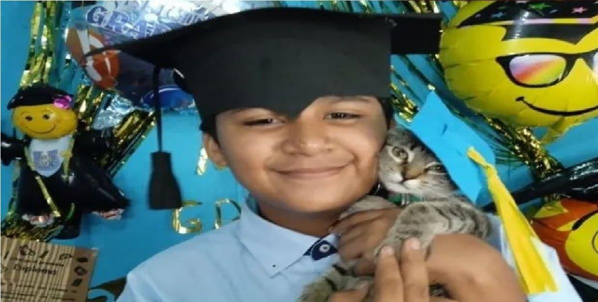 Gatita se gradúa junto a su dueño después de tomar todas las clases virtuales