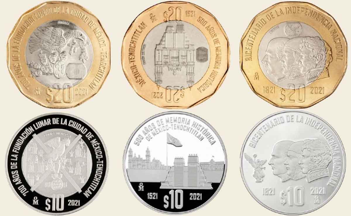 Nuevas monedas conmemorativas de 10 y 20 pesos