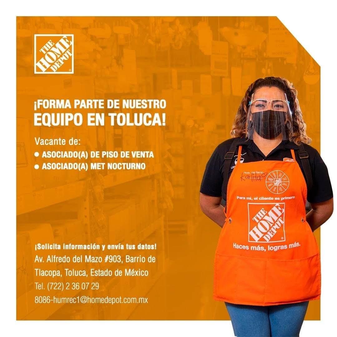 The Home Depot ofrece vacantes de empleo en su sucursal de Toluca