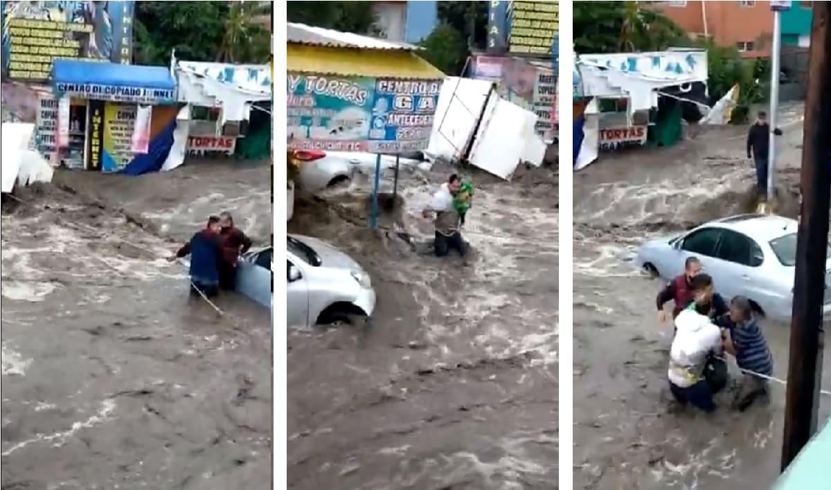 Habitantes de Ecatepec rescatan a bebé atrapado en medio de la inundación