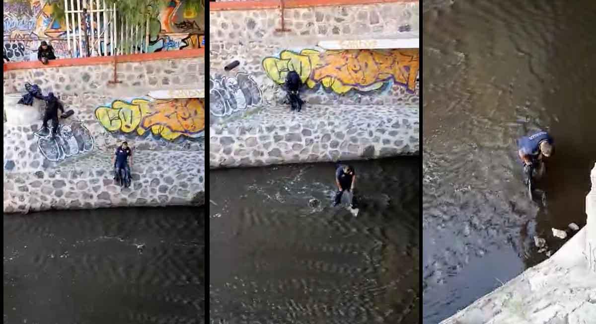 Perrito fue rescatado de aguas negras por policías, aquí el video