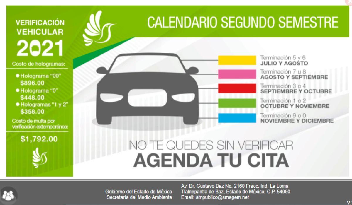 Calendario verificación vehicular EdoMéx 2021 disponible en PDF para imprimir