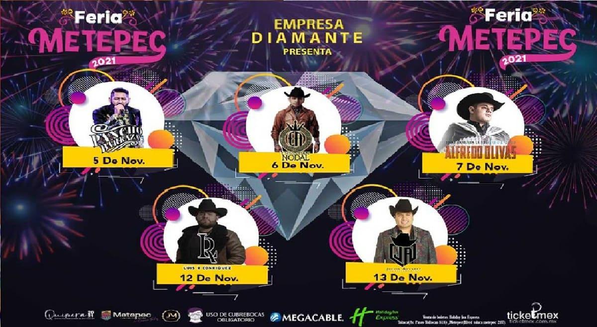 Estos son los artistas y fechas confirmados para la Feria de Metepec 2021