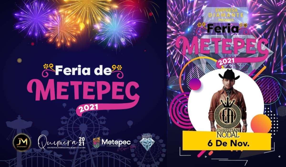 ¿Qué artistas se presentarán en el Centro de Espectáculos en la Feria de Metepec 2021?