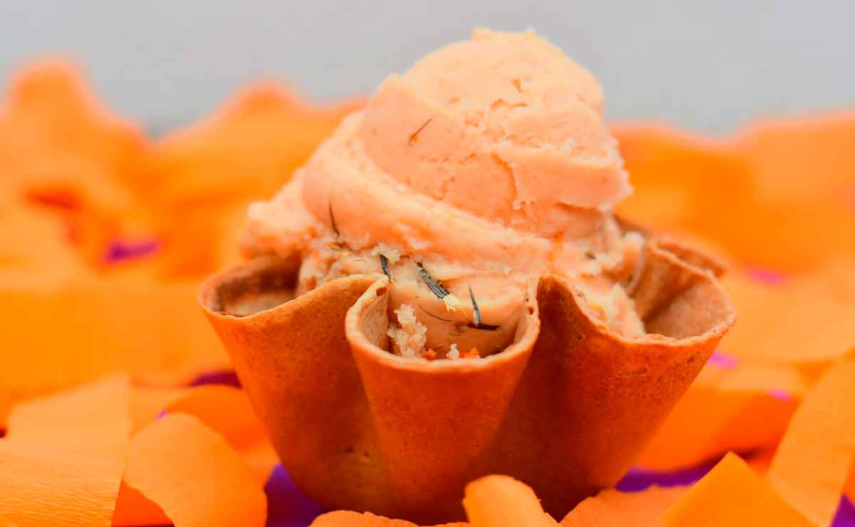 helado de flor de cempasuchil