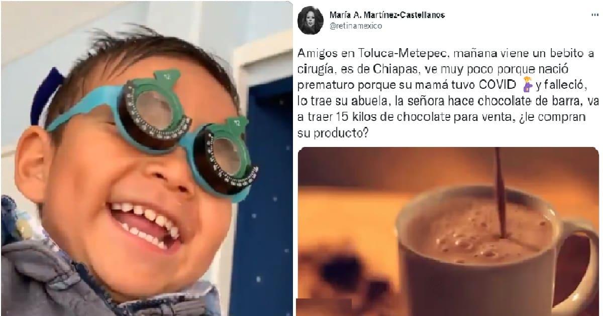 Abuelita vende chocolates en Toluca para poder operar a su nieto